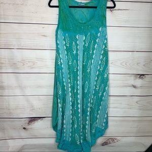 SHORELINE Turquoise Beaded Neckline Swim Coverup